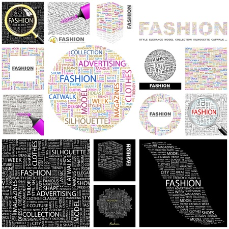 word collage: FASHION. Word collage. GREAT COLLECTION.