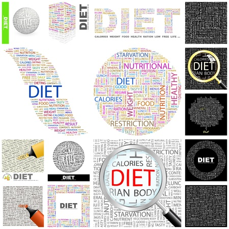 DIET. Word collage. GREAT COLLECTION. Vector