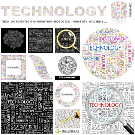 TECHNOLOGY. Word collage. GREAT COLLECTION. Vector