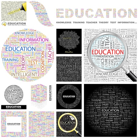 EDUCATION. Word collage. GREAT COLLECTION. Vector
