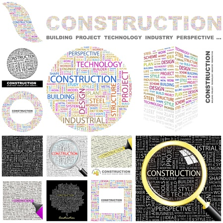 CONSTRUCTION. Word collage. GREAT COLLECTION. Vector