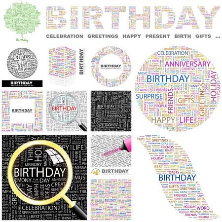 BIRTHDAY. Word collage. GREAT COLLECTION.