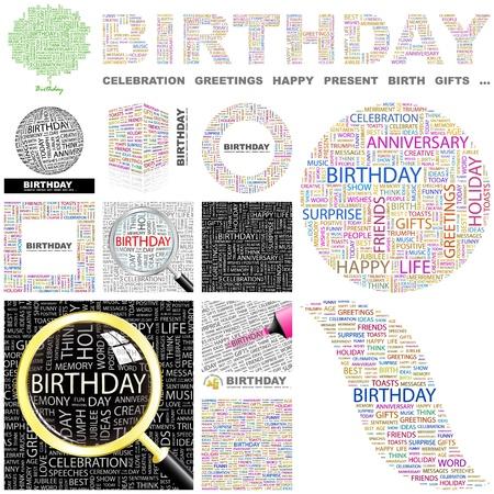 happy birthday baby: CUMPLEA�OS. Palabra collage. Gran colecci�n. Vectores