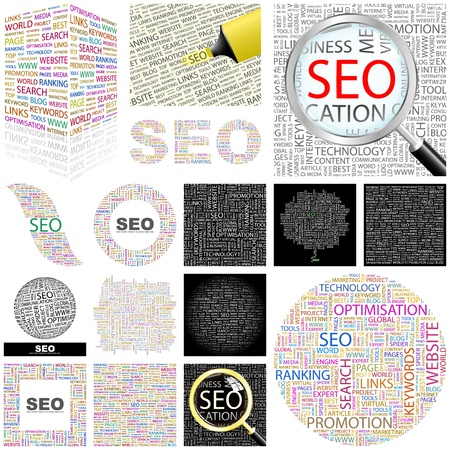 keywords link: SEO. Word collage. GREAT COLLECTION. Illustration