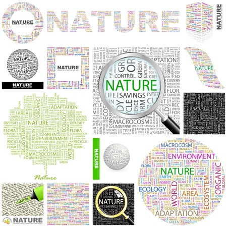 weather terms: NATURE. Word collage. GREAT COLLECTION.