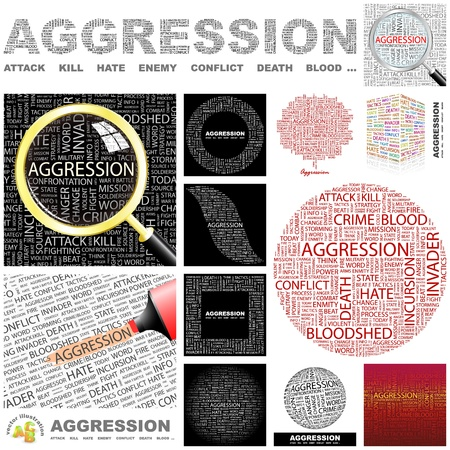 mix fighting: AGGRESSION. Word collage. GREAT COLLECTION.