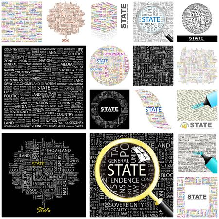 STATE  Word collage  GREAT COLLECTION  Vector