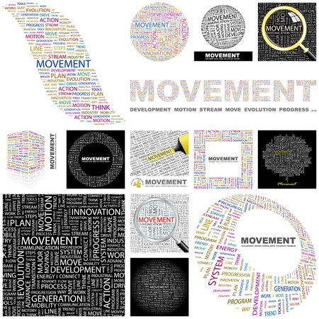 transition: MOVEMENT. Word collage. GREAT COLLECTION.