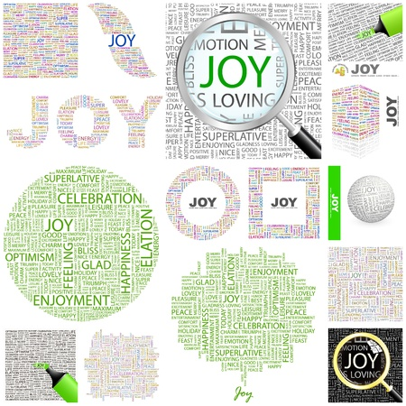 JOY. Word collage. GREAT COLLECTION. Vector