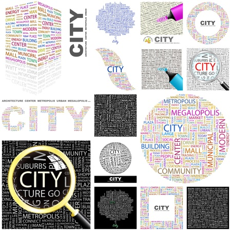 CITY. Word collage. GREAT COLLECTION. Vector