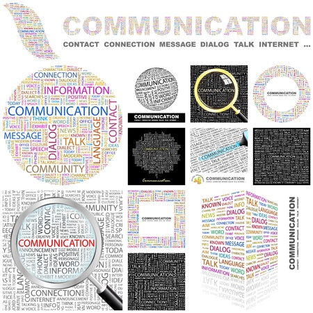 marketing mix: COMMUNICATION. Word collage. GREAT COLLECTION.