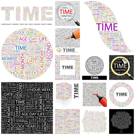 new age: TIME. Word collage. GREAT COLLECTION. Illustration