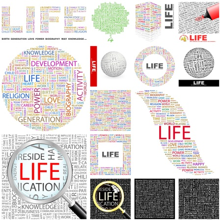 content writing: LIFE. Word collage. GREAT COLLECTION. Illustration