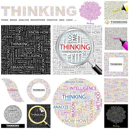 DENKEN. Woord collage. Grote collectie.