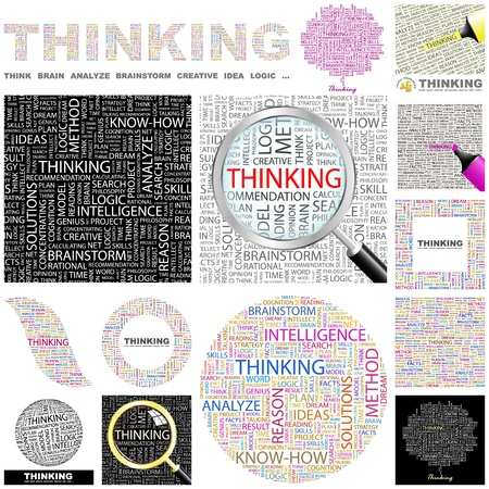 person thinking: PENSAMIENTO. Palabra collage. Gran colecci�n.