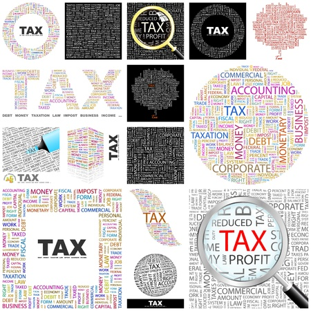 TAX  Word collage  GREAT COLLECTION  Vector