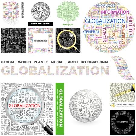 mapas conceptuales: GLOBALIZACIÓN. Palabra collage. Gran colección. Vectores