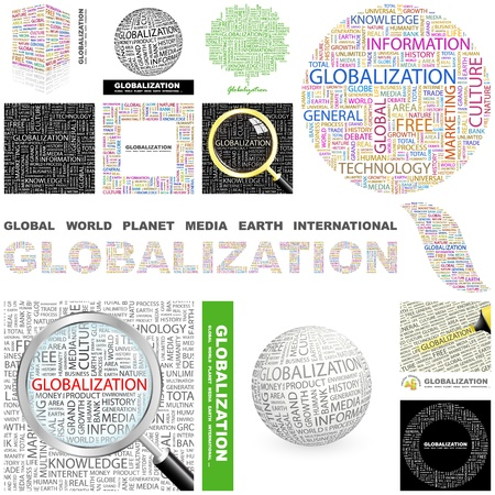 transnational: GLOBALIZATION. Word collage. GREAT COLLECTION.