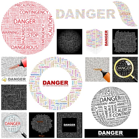 hazardous area sign: PELIGRO. Palabra collage. Gran colecci�n.