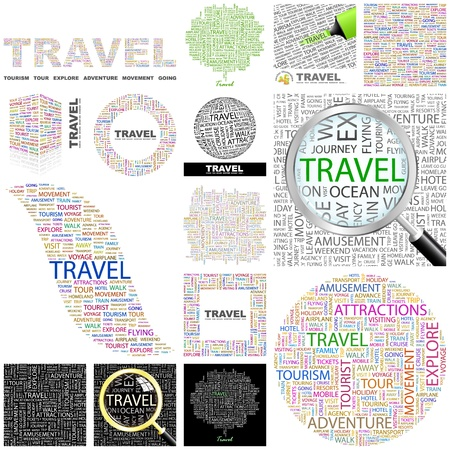 away travel: TRAVEL. Word collage. GREAT COLLECTION.
