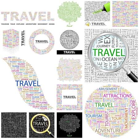 wort collage: TRAVEL. Word-Collage. Gro�e Sammlung.