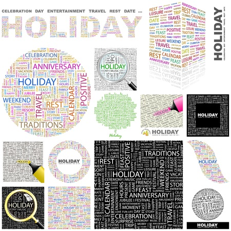 HOLIDAY. Word collage. GREAT COLLECTION.