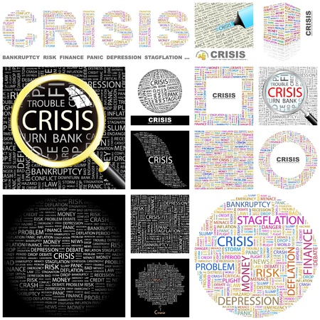 CRISIS. Concept illustration. GREAT COLLECTION. Vector