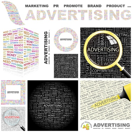 branded product: ADVERTISING. Concept illustration. GREAT COLLECTION.