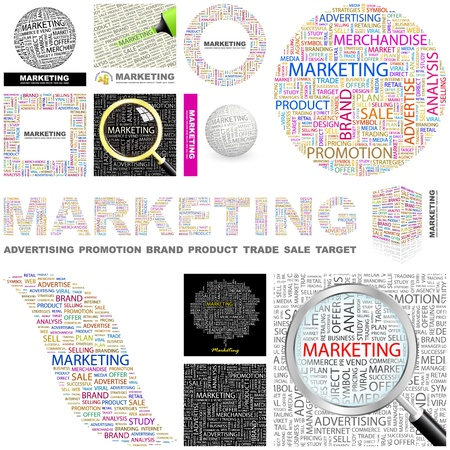 effectief: MARKETING. Woord collage. Grote collectie.