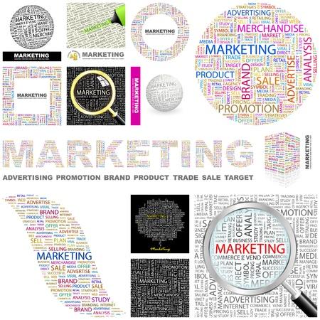 MARKETING. Word collage. GREAT COLLECTION. Vektoros illusztráció