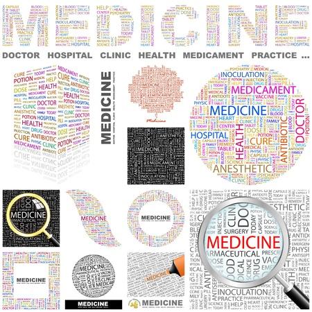 의학: 의학. 콜라주를 단어. 훌륭한 컬렉션입니다. 일러스트