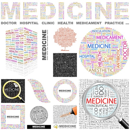 a physician: MEDICINE. Word collage. GREAT COLLECTION. Illustration