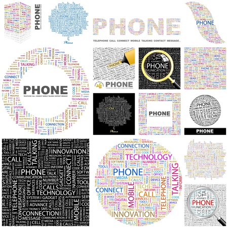 PHONE. Word collage. GREAT COLLECTION. Vector