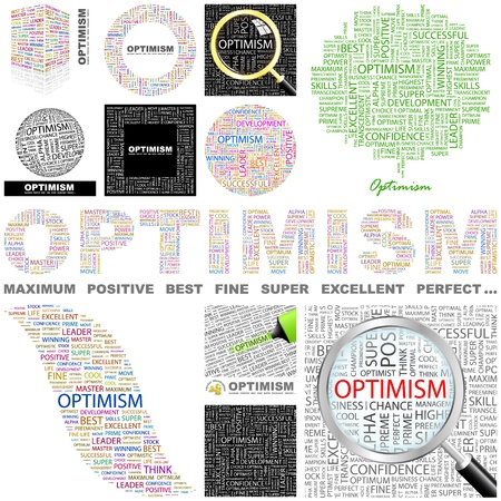 optimistic: OPTIMISM. Word collage. GREAT COLLECTION.