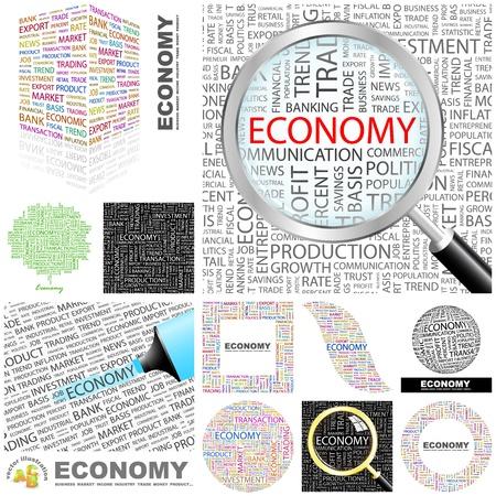crisis economica: ECONOM�A. Palabra collage. Gran colecci�n. Vectores
