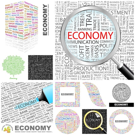 economic development: ECONOMY. Word collage. GREAT COLLECTION. Illustration