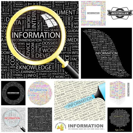 INFORMATION  Word collage  GREAT COLLECTION  Vector