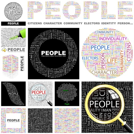 PEOPLE. Word collage. GREAT COLLECTION. Vector