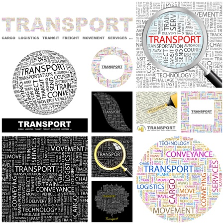 TRANSPORT  Word collage  GREAT COLLECTION  Vector
