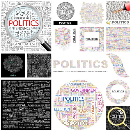 predominance: POLITICS. Word collage. GREAT COLLECTION.