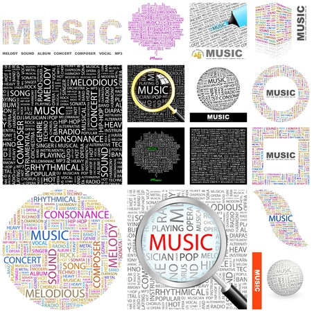 duet: MUSIC. Word collage. GREAT COLLECTION.