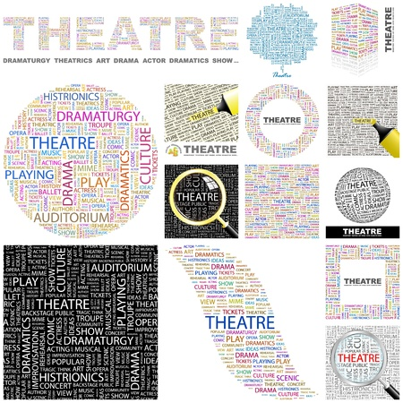 theater auditorium: THEATRE. Word collage. GREAT COLLECTION.