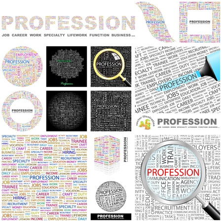 employee development: PROFESSION. Word collage. GREAT COLLECTION. Illustration