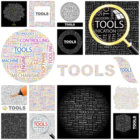 TOOLS. Word collage. GREAT COLLECTION. Vector