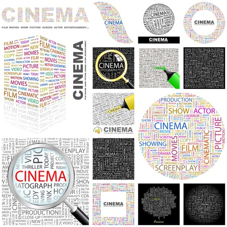 letter alphabet pictures: CINEMA. Word collage. GREAT COLLECTION.