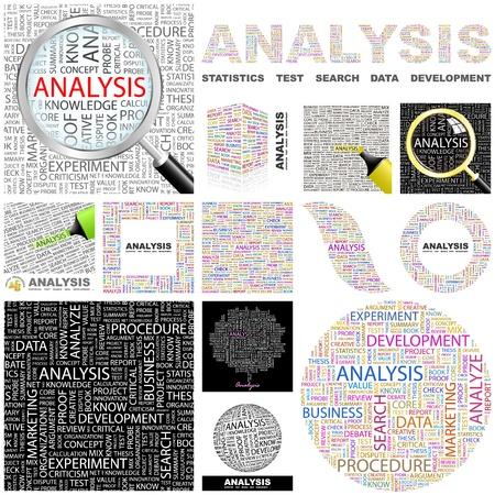 asociacion: ANÁLISIS. Palabra collage. Gran colección.