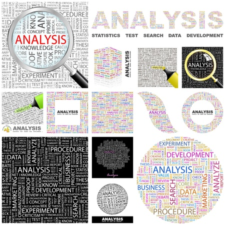 an article: ANALYSIS. Word collage. GREAT COLLECTION. Illustration