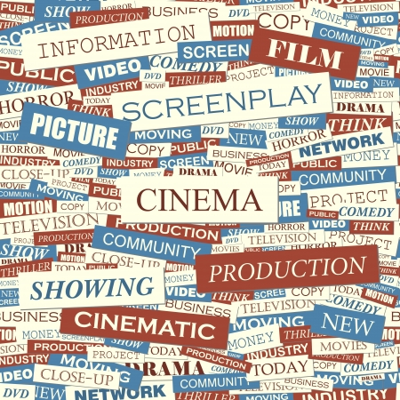 television screen: CINEMA  Seamless vector pattern