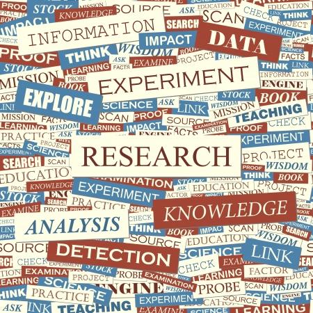 metodo cientifico: Word collage INVESTIGACIÓN vector patrón Seamless
