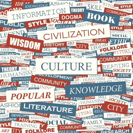 CULTURE  Word collage  Seamless illustration  Vector